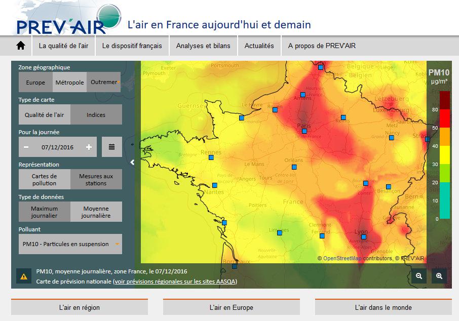Prévisions du modèle Prév'Air pour les particules fines PM10 sur la France le 7 décembre 2016