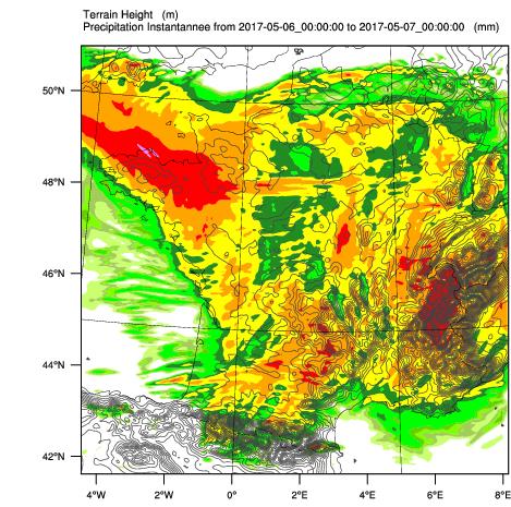 Carte de cumul de pluie (en mm) calculée par le modèle WRF le 6 mai 2017 avec le forçage météorologique GFS de 00Z